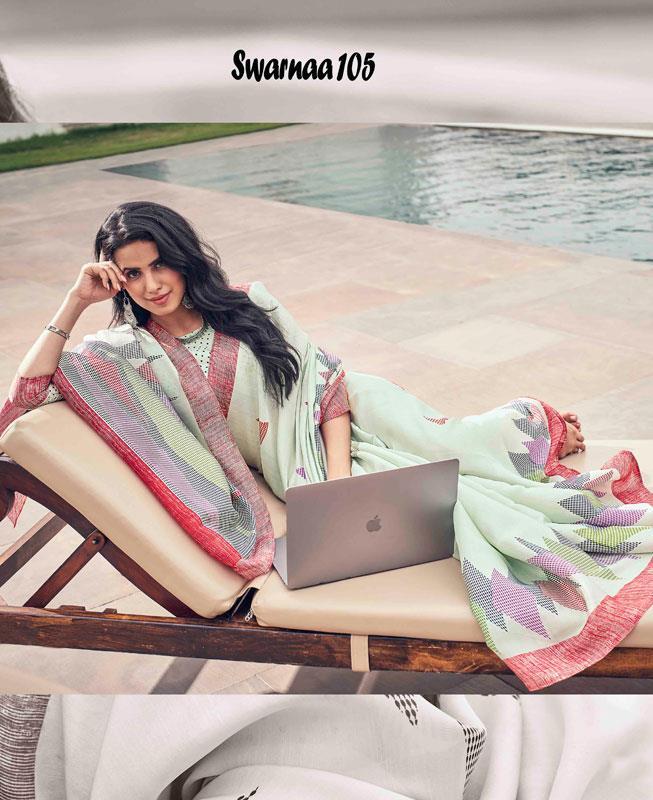 Printed Silk Saree in MINTCREAM