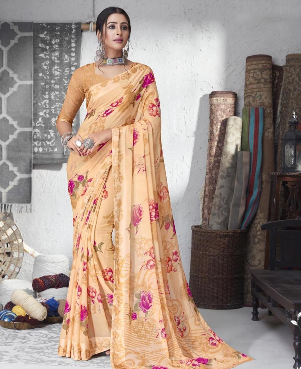 Printed Chiffon Saree in Cream