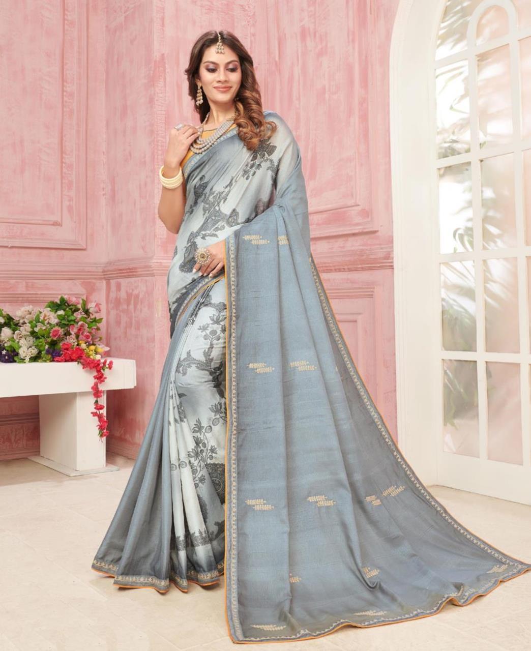 Printed Silk Saree in Grey