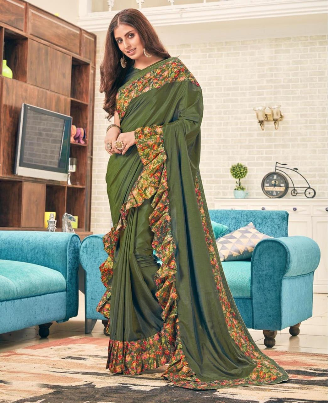 Printed Silk Saree (Sari) in OLIVE