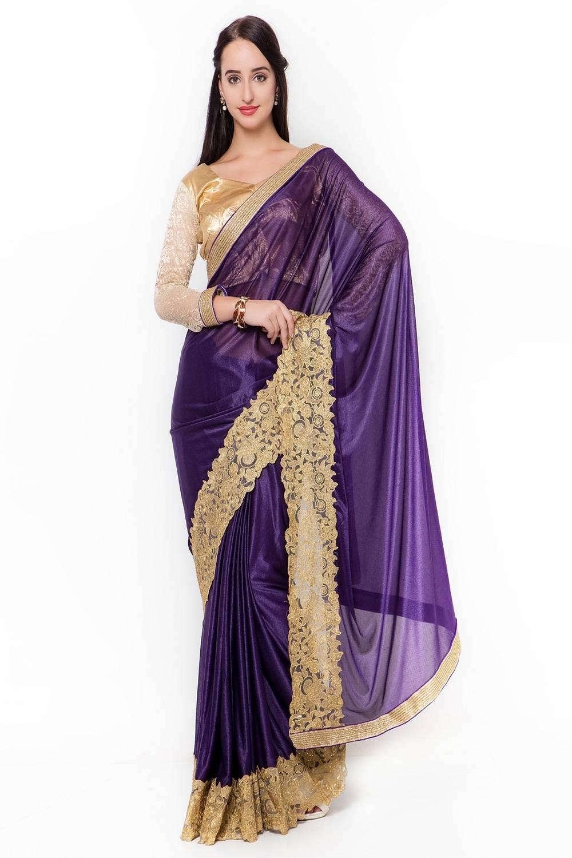 Embellishments Lycra Saree (Sari) in Purple