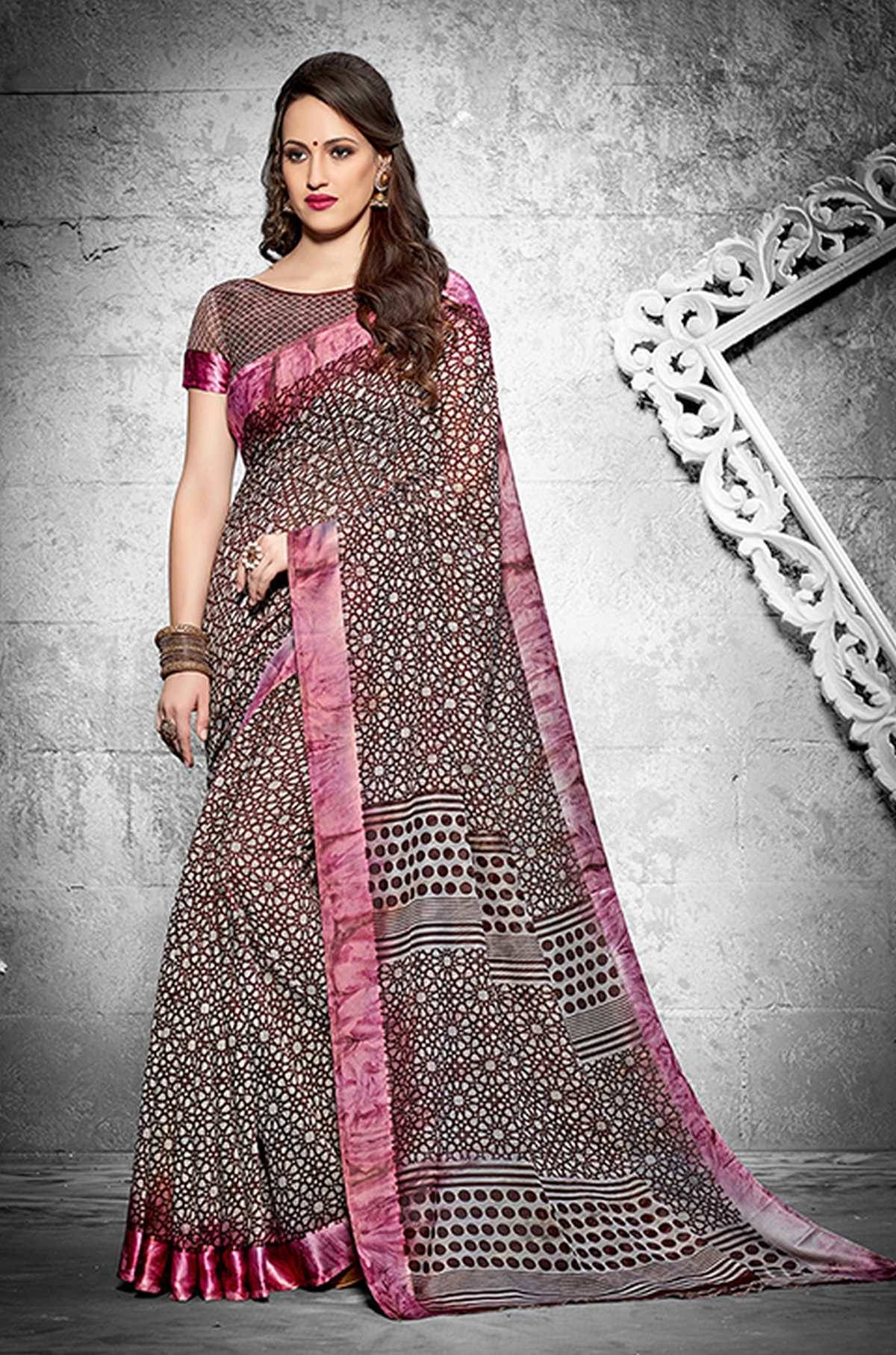 Printed Silk Saree (sari) in Brown