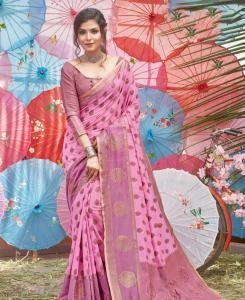 HandWorked Cotton Saree in Pink