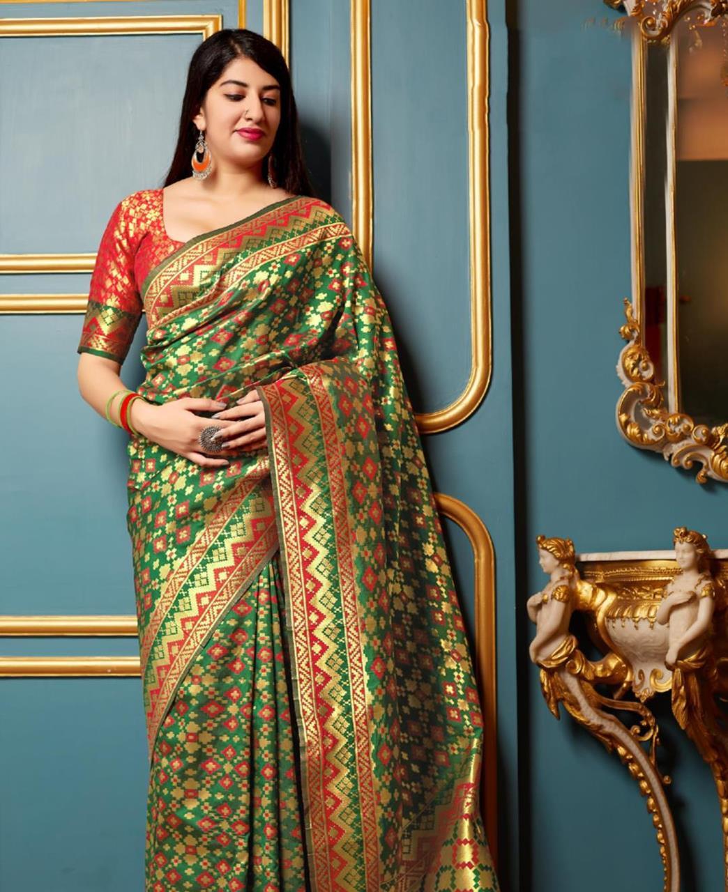 Woven Banarasi Silk Saree (Sari) in  Green