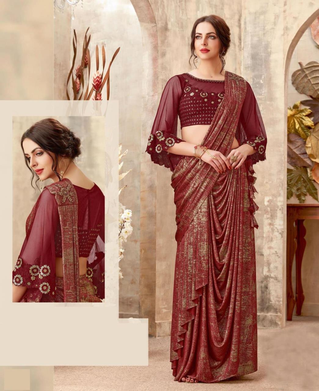 Embellishments Lycra Saree (Sari) in Maroon