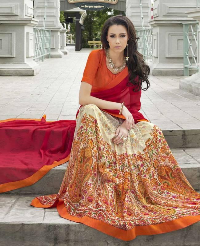 Printed Faux Georgette Saree (Sari) in Multi Colour