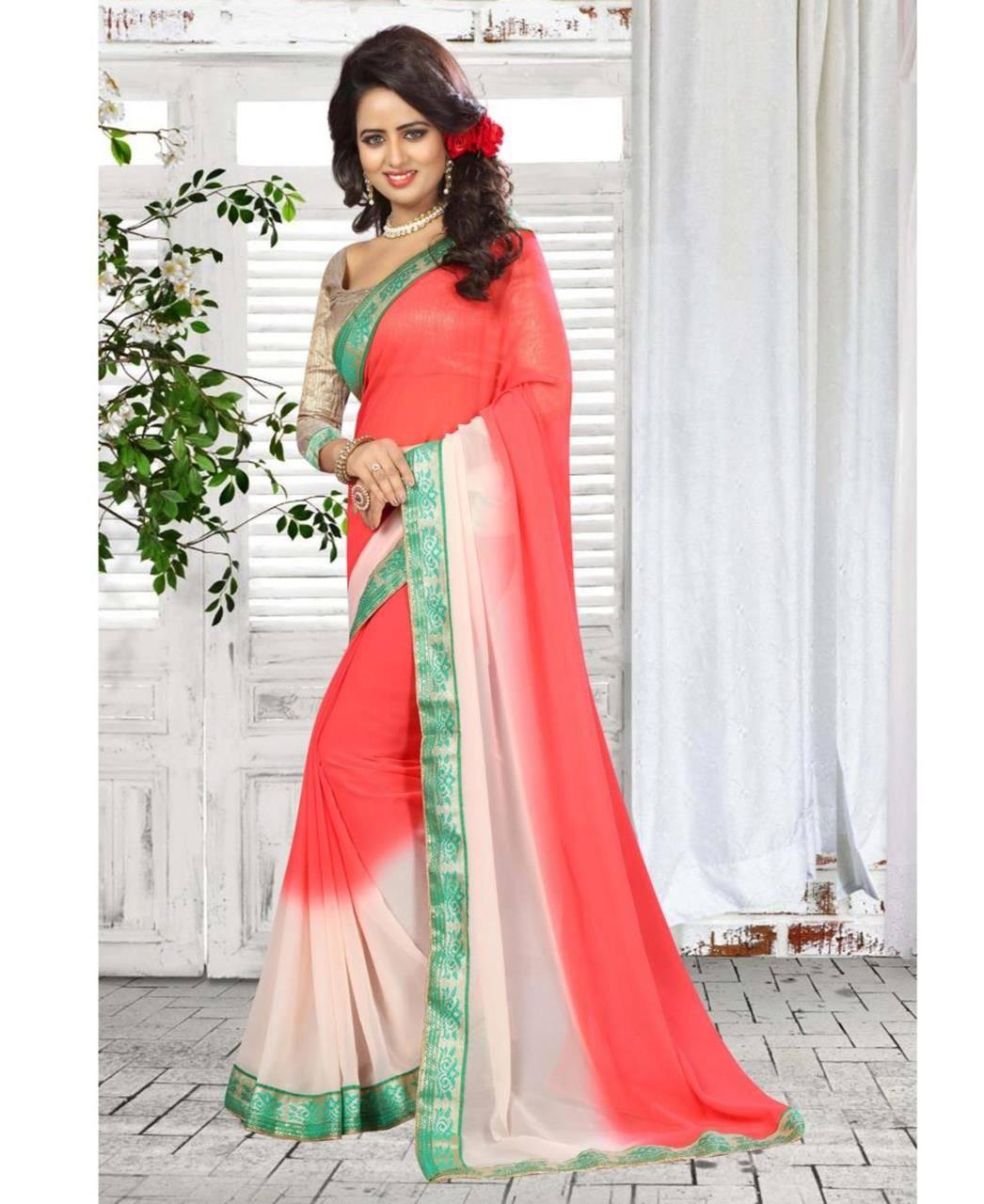Floral Patch Bhagalpuri Silk Saree (Sari) in Pink