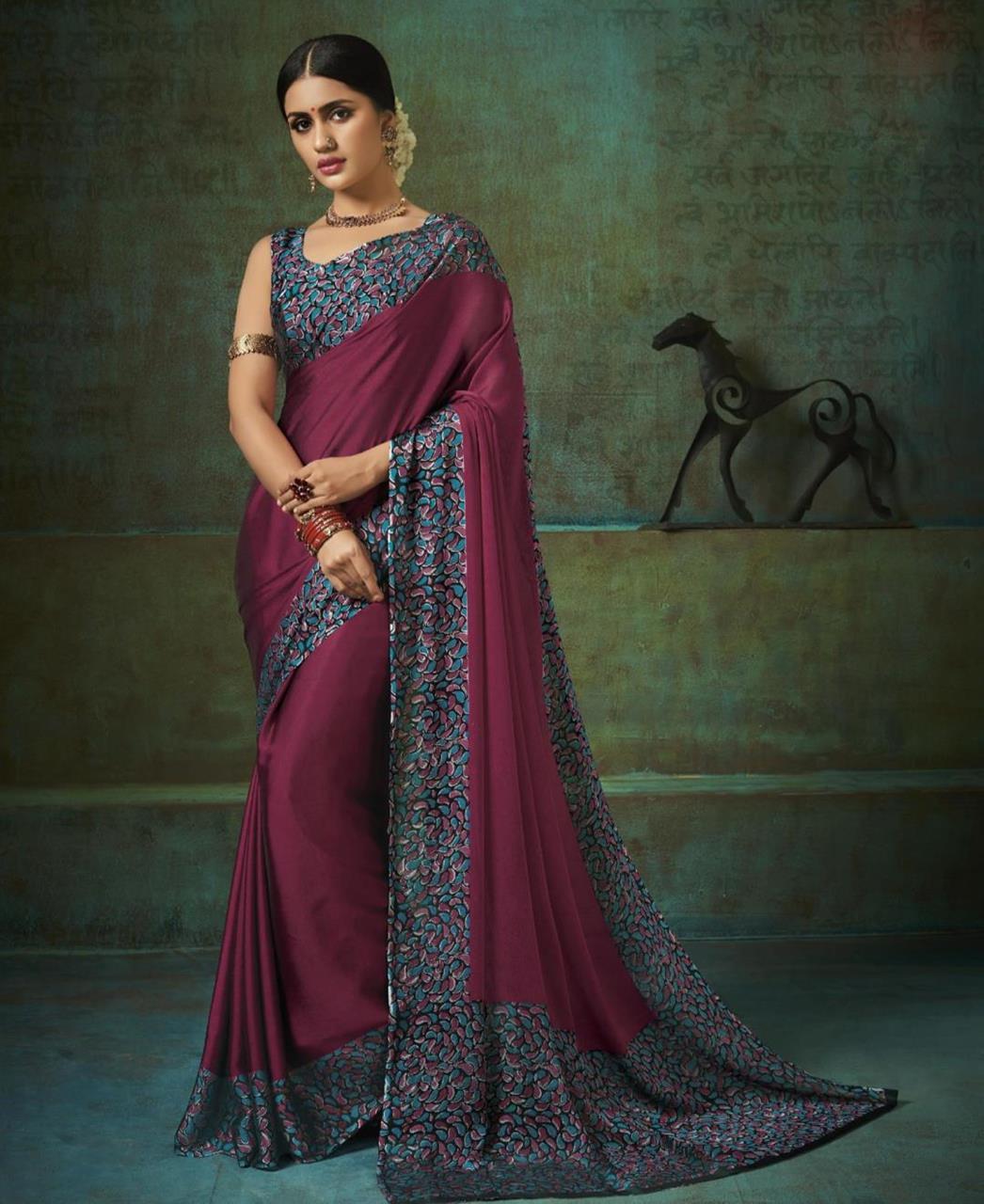 Printed Silk Saree in Magenta Pink