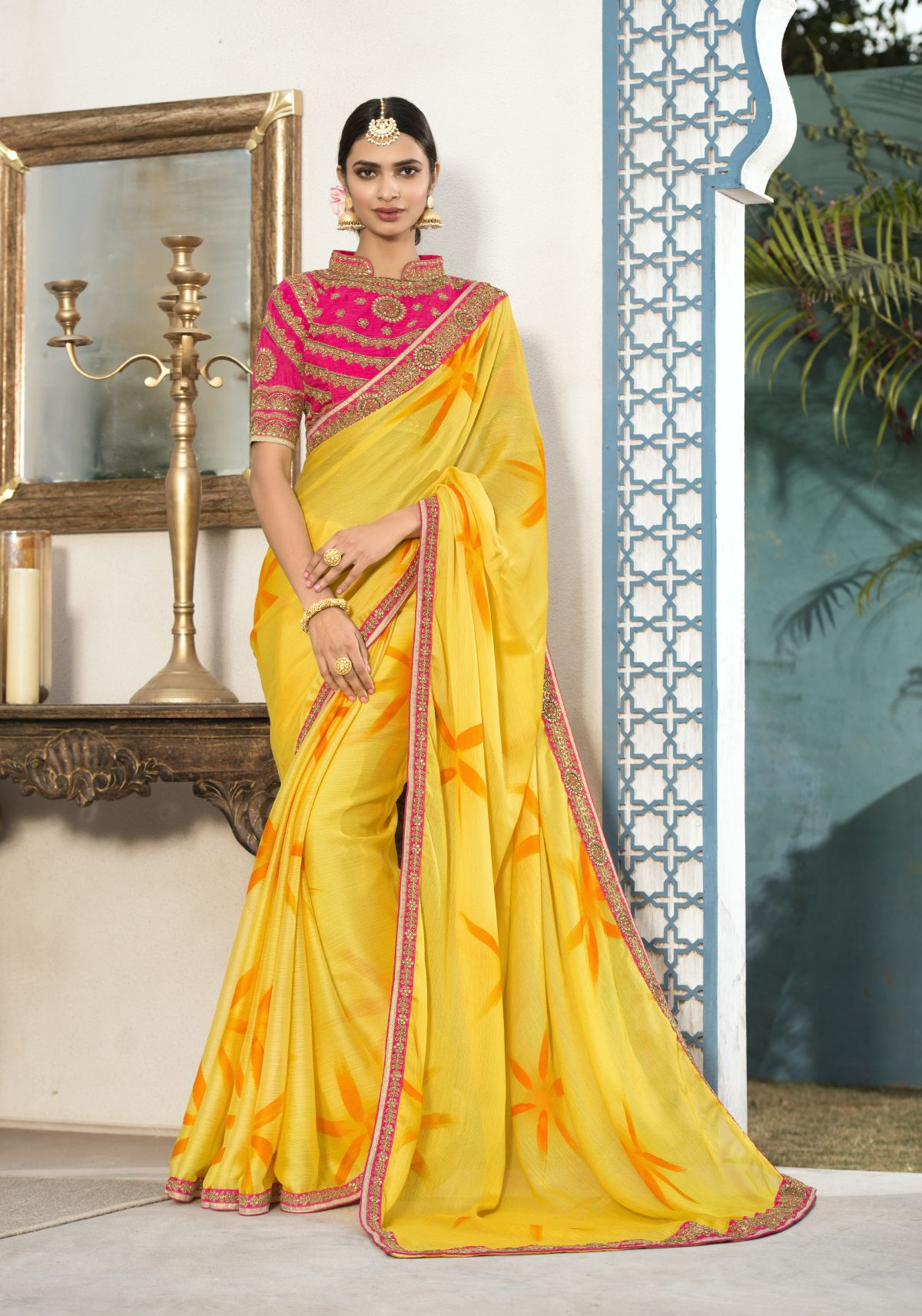 Embroidered Chiffon Saree in Yellow