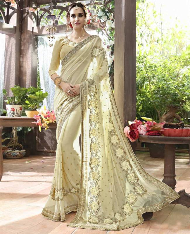 Embroidered Faux Georgette Saree (Sari) in Off White