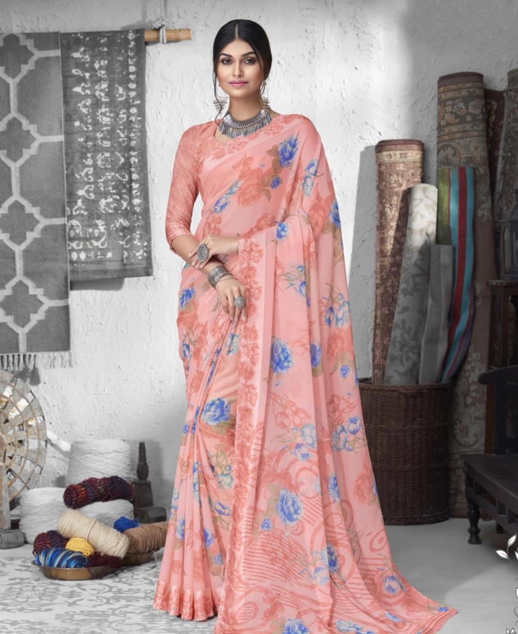 Printed Chiffon Saree in Peach