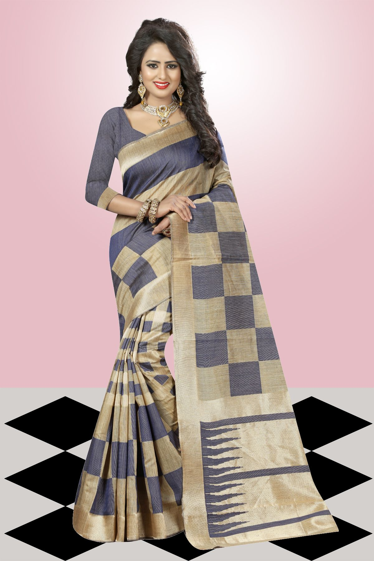 Printed Art Silk Saree in Gray