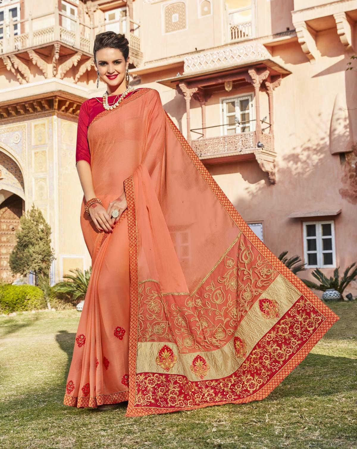 Embroidered Chiffon Saree (Sari) in PeachPuff