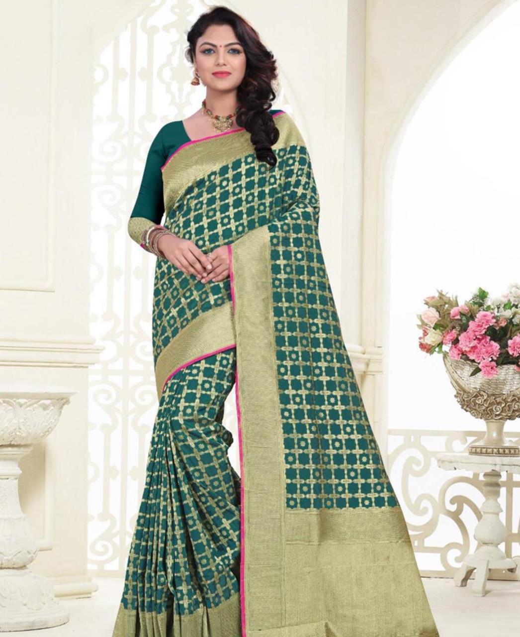 Printed Banarasi Silk Saree (Sari) in Green