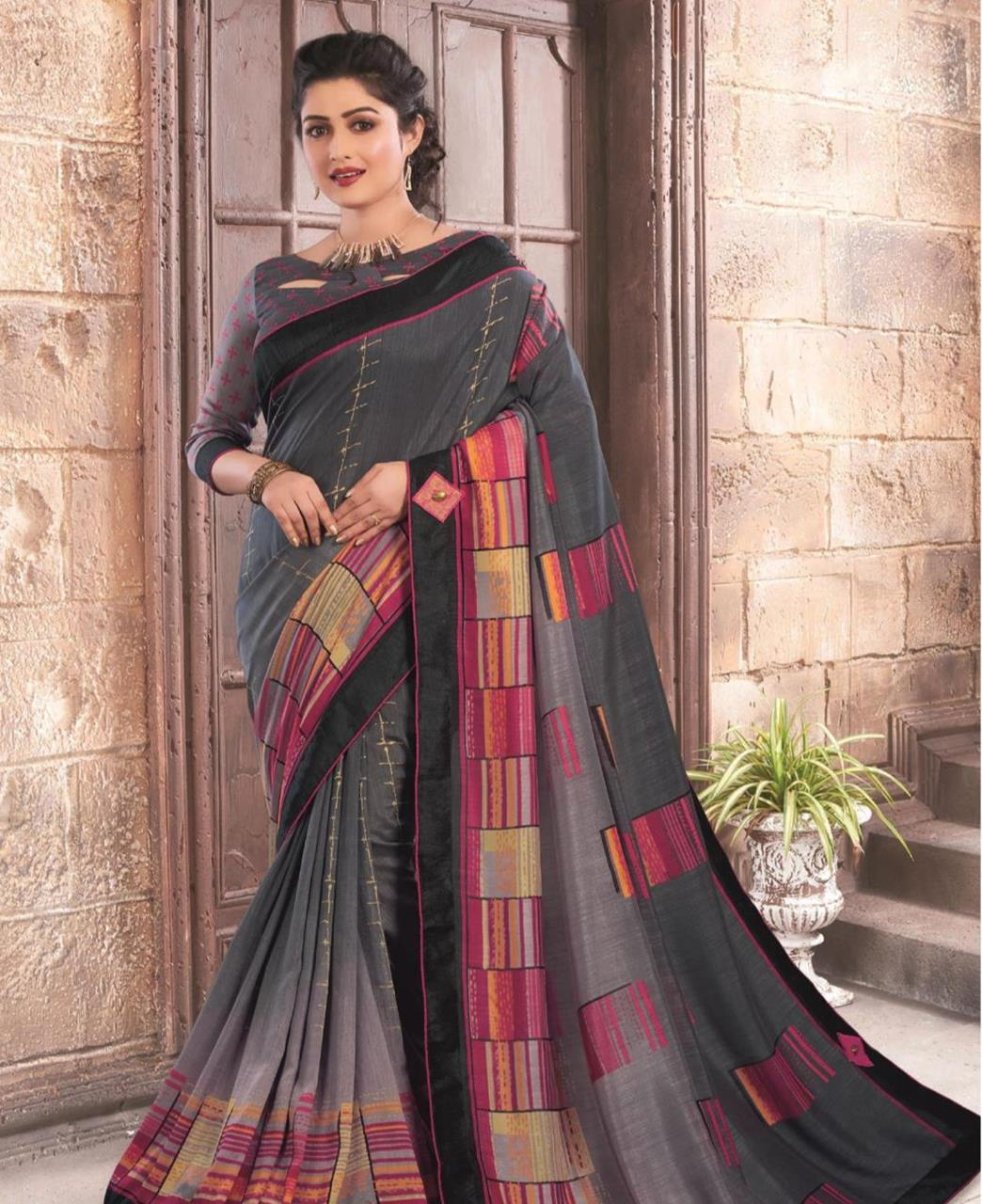 Printed Silk Saree in Brown