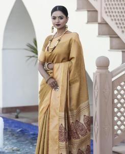 Zari Silk Saree in Beige