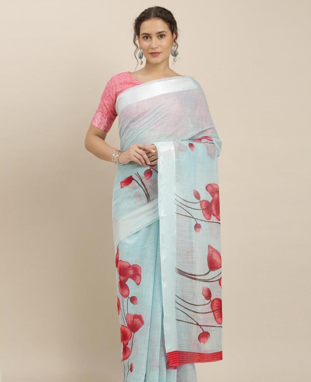 Printed Cotton Saree in Sky Blue