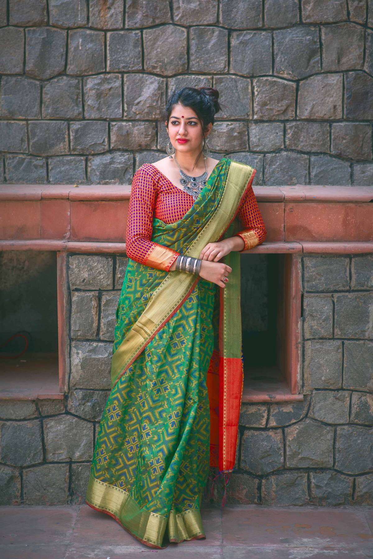Woven Silk Saree (Sari) in Green