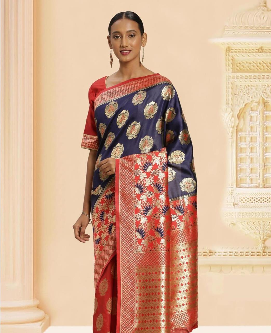Jacquard Banarasi Silk Saree in Blue