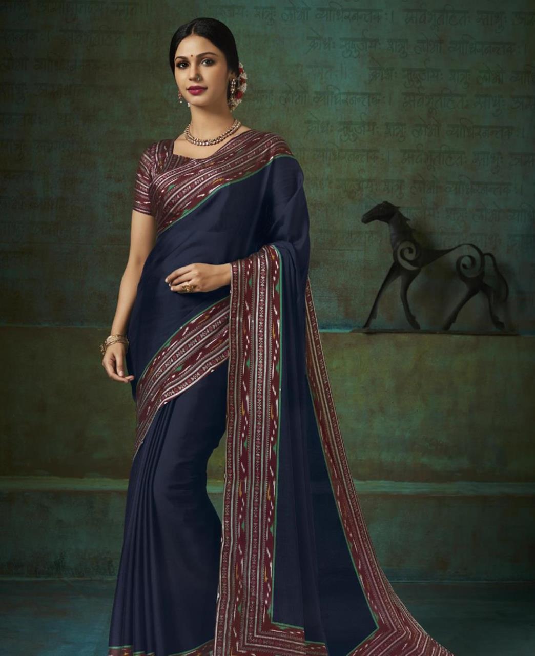 Printed Silk Saree in Navy Blue