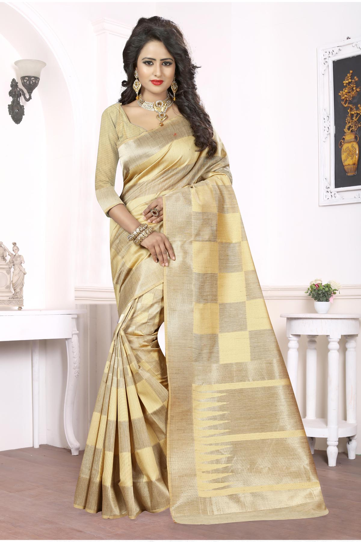 Printed Art Silk Saree (sari) in Cream