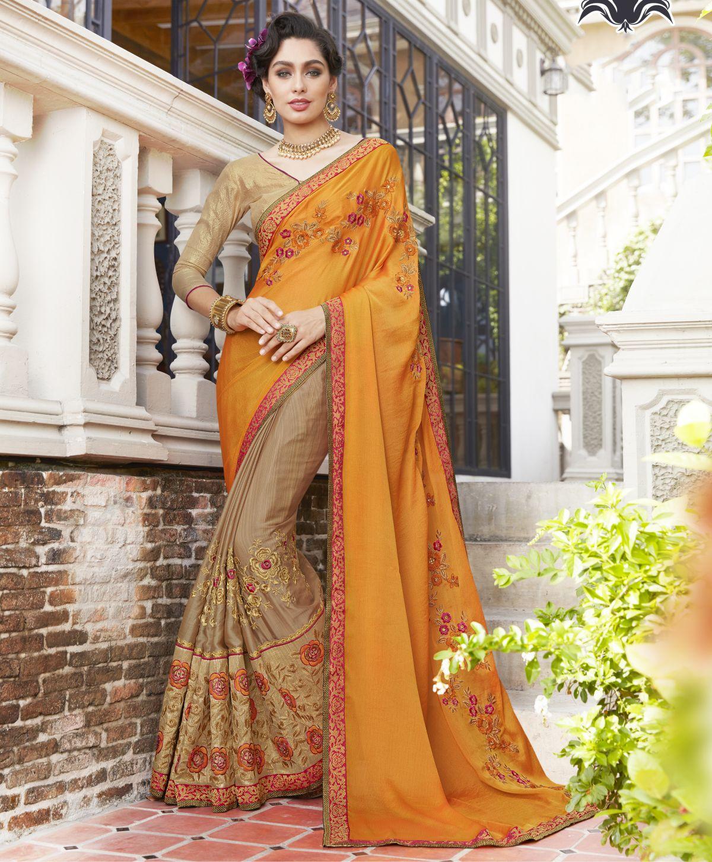 Embroidered Georgette Saree in Orange