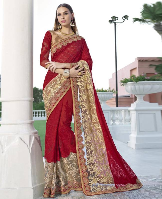 Embroidered Faux Georgette Net Saree (Sari) in Red