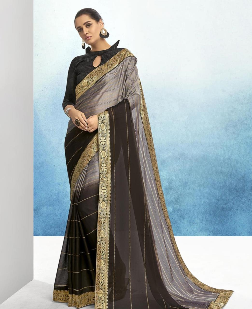 Lace Chiffon Saree in Grey  ,  Black