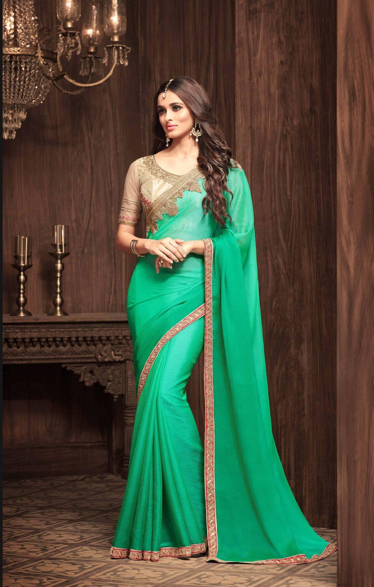 Embroidered Chiffon Saree (sari) in Green