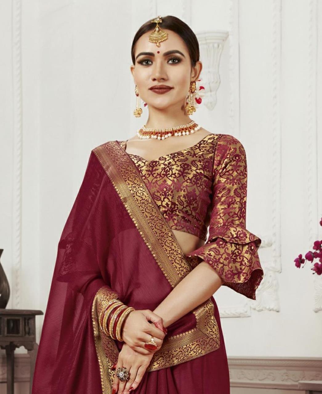 Woven Chiffon Saree (Sari) in Maroon