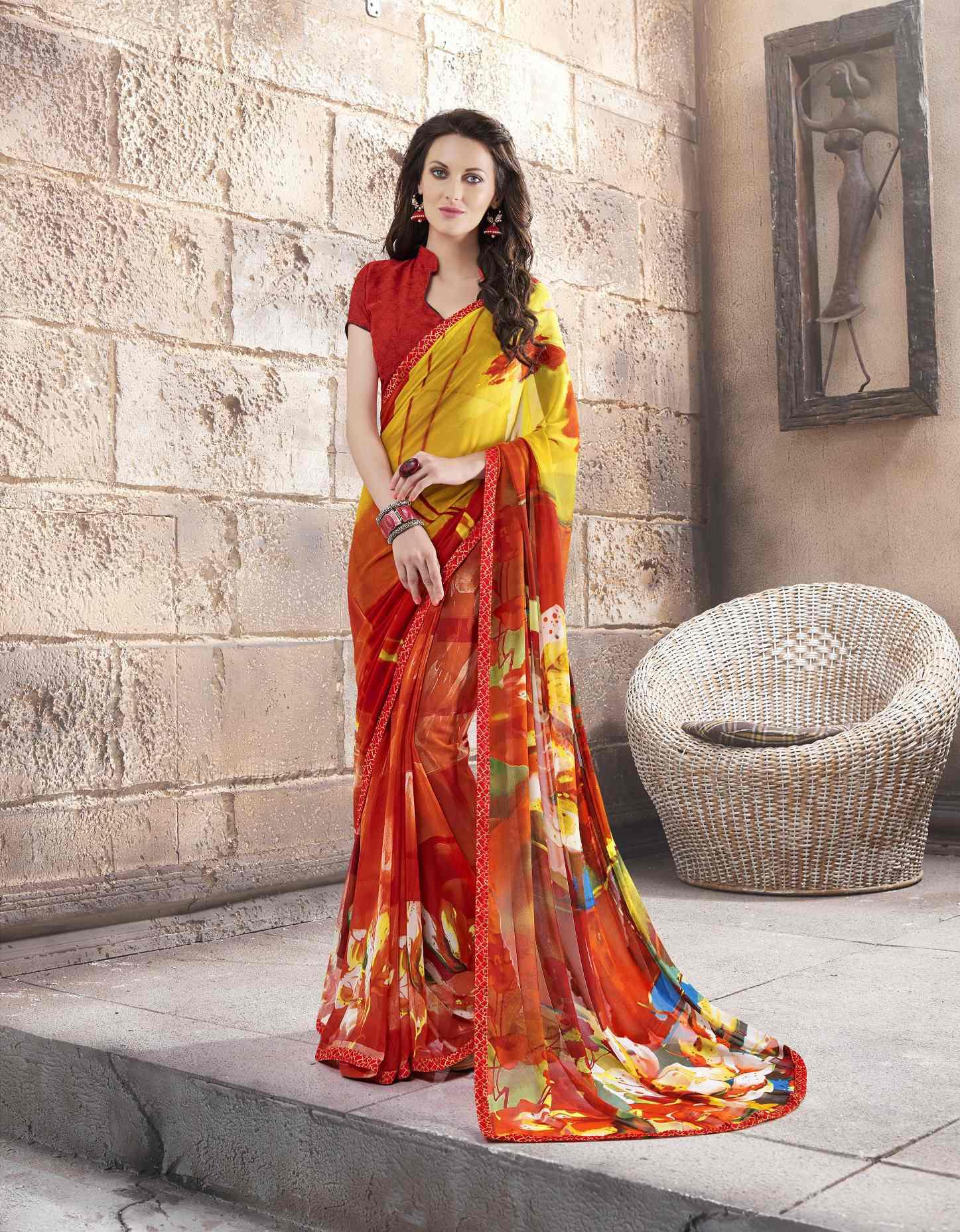Printed Georgette Saree (sari) in Yellow