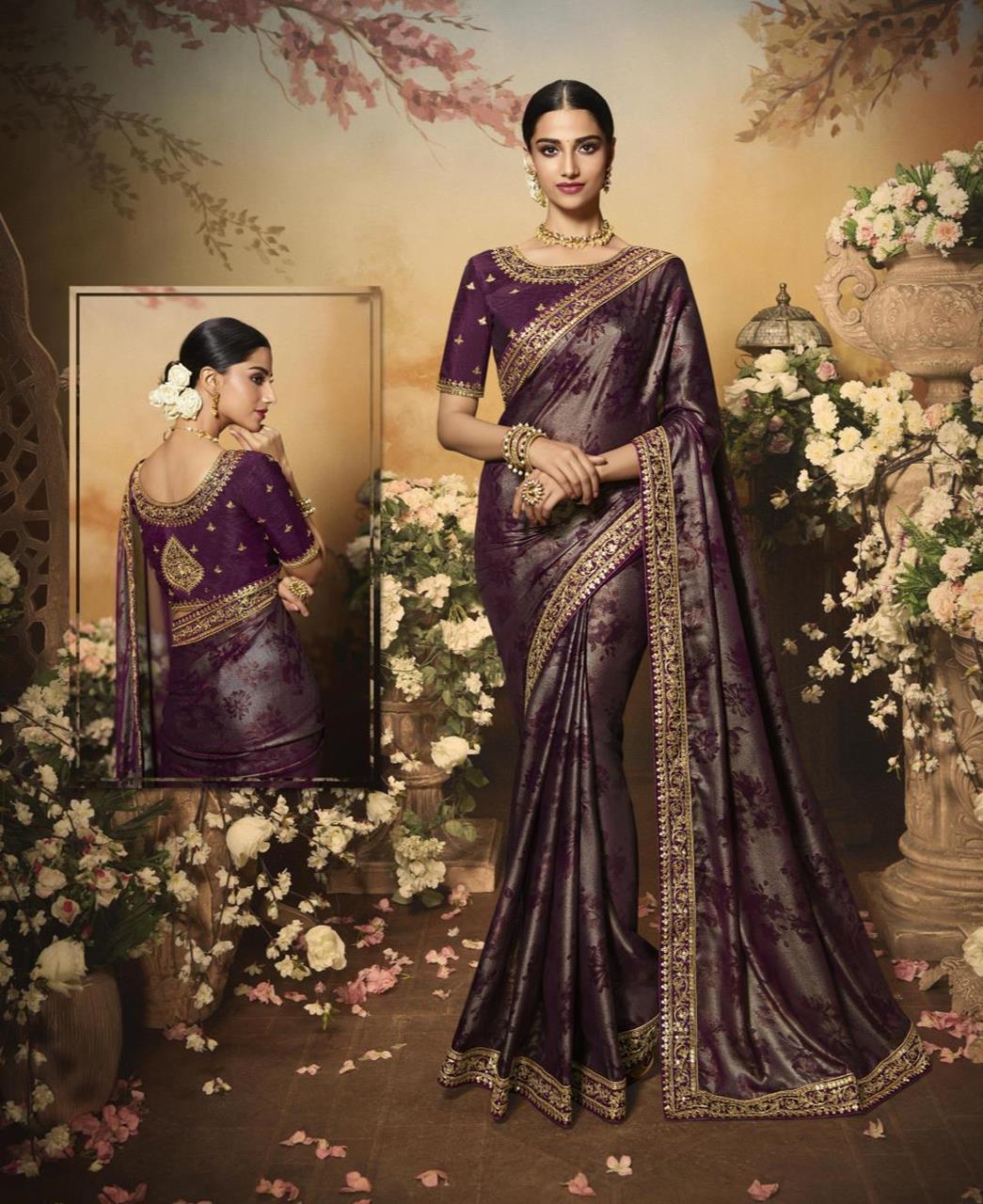 Printed Silk Saree in Dark Purple
