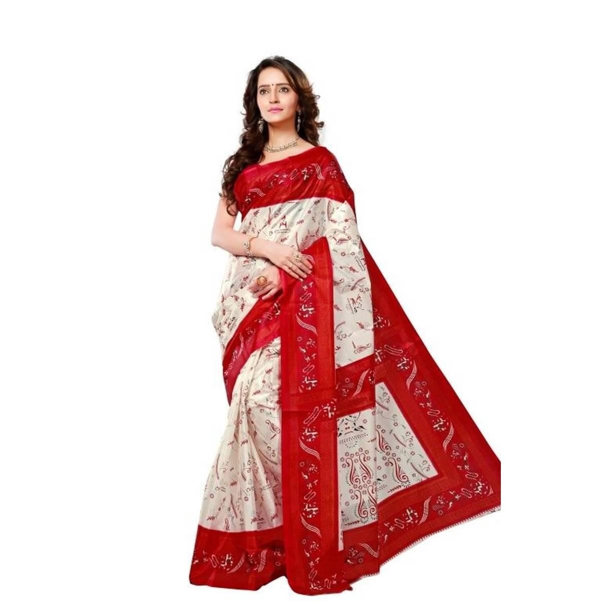 Printed Silk Saree (Sari) in White