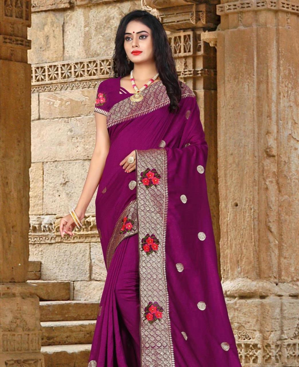 Resham Silk Saree (Sari) in Magenta