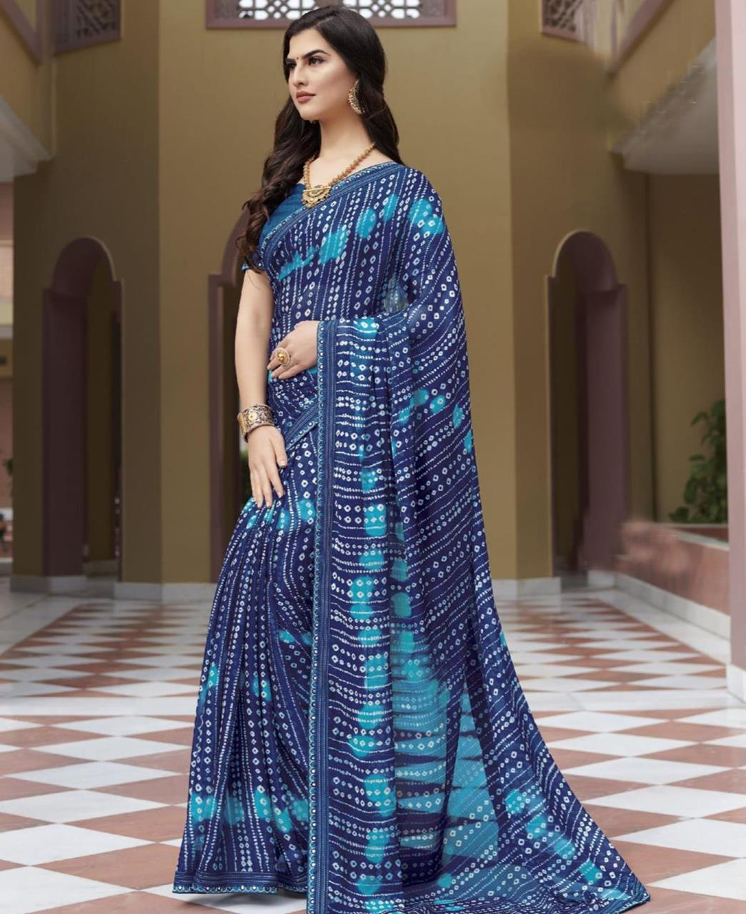 Lace Chiffon Saree in Blue