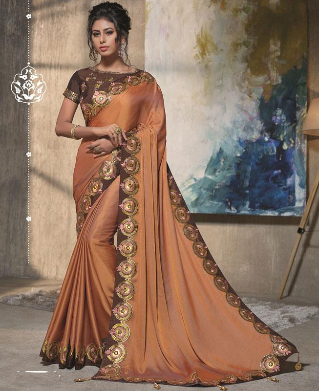 Thread Work Silk Saree (Sari) in Orange