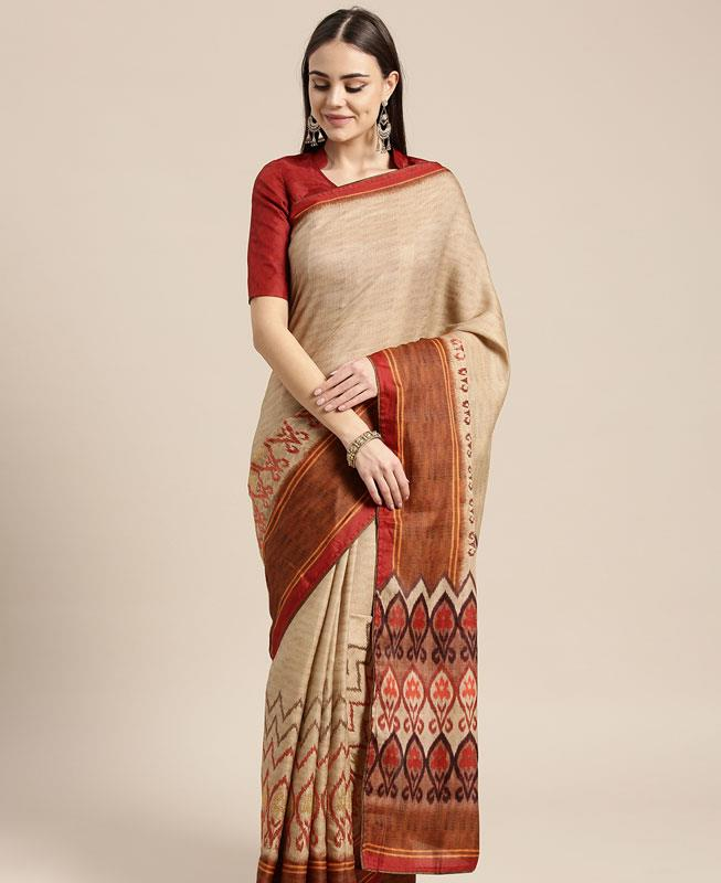 Satin Saree in Beige