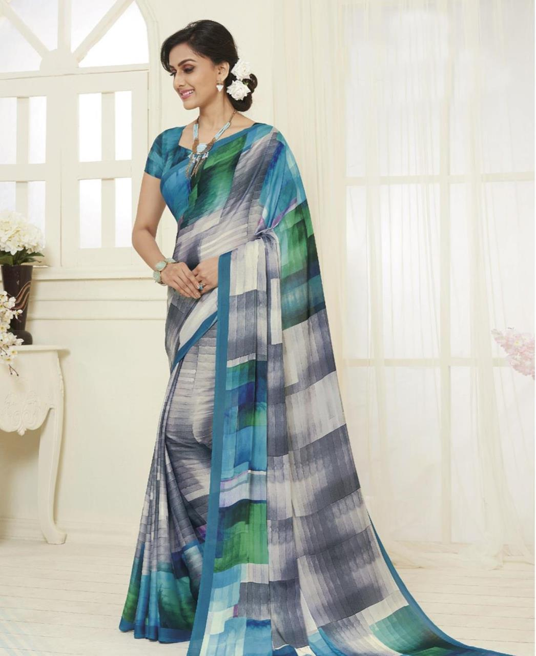 Printed Satin Saree in Grey  ,  Blue