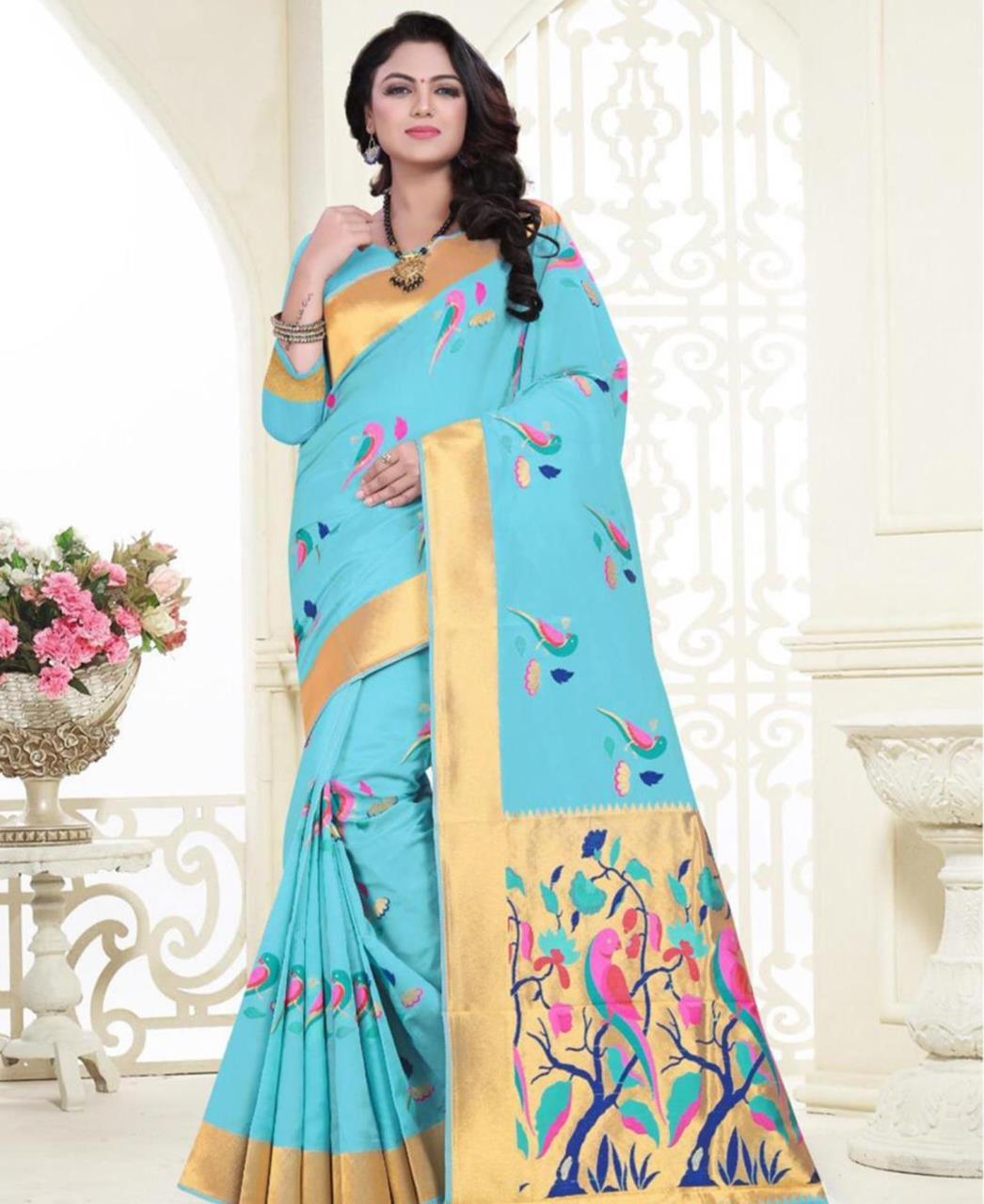 Printed Banarasi Silk Saree (Sari) in SKYBLUE