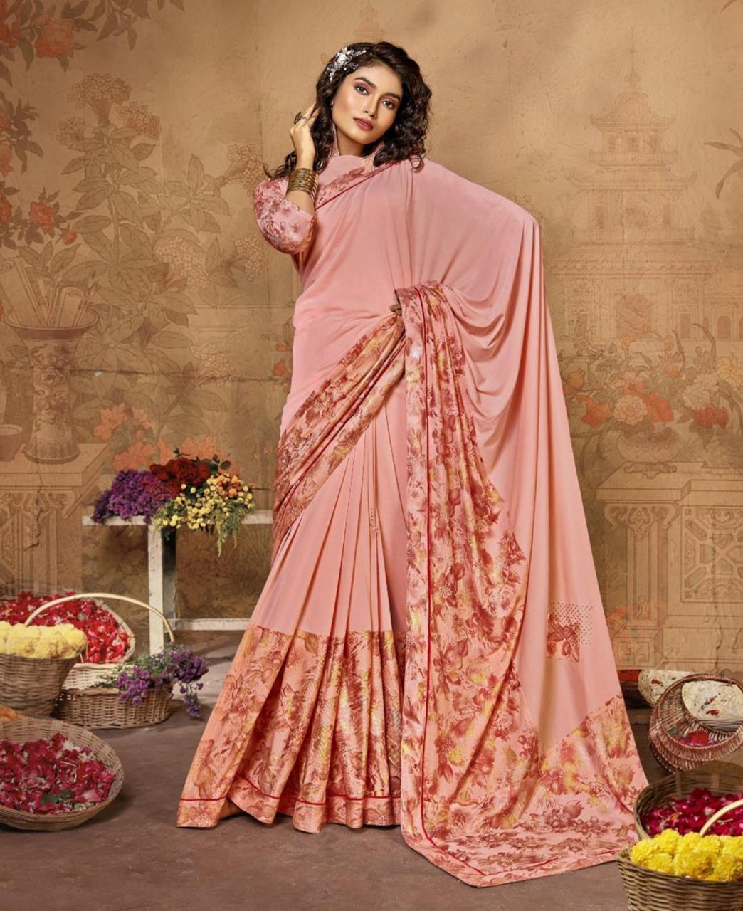 Printed Lycra Saree in Light Pink