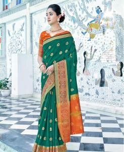 Cotton Saree in Rama