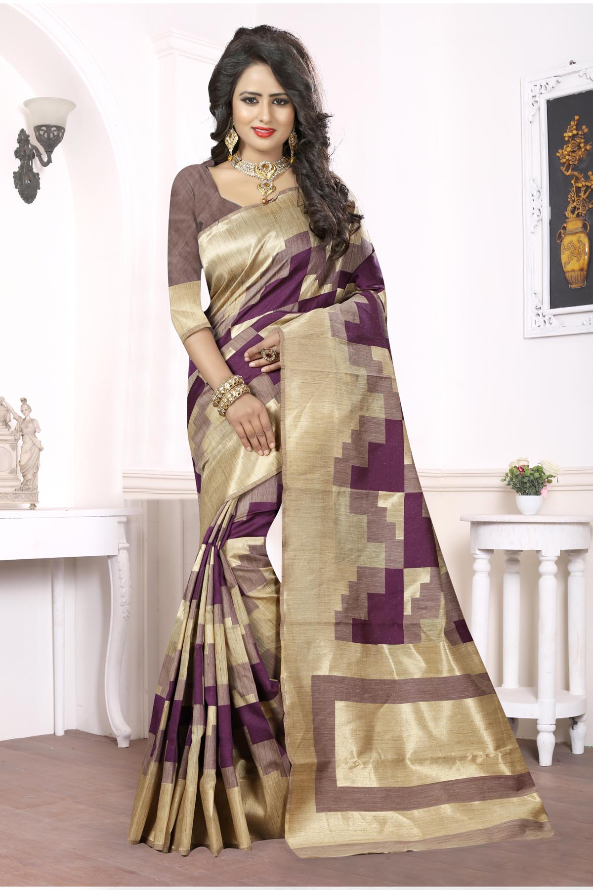 Printed Art Silk Saree (sari) in Beige