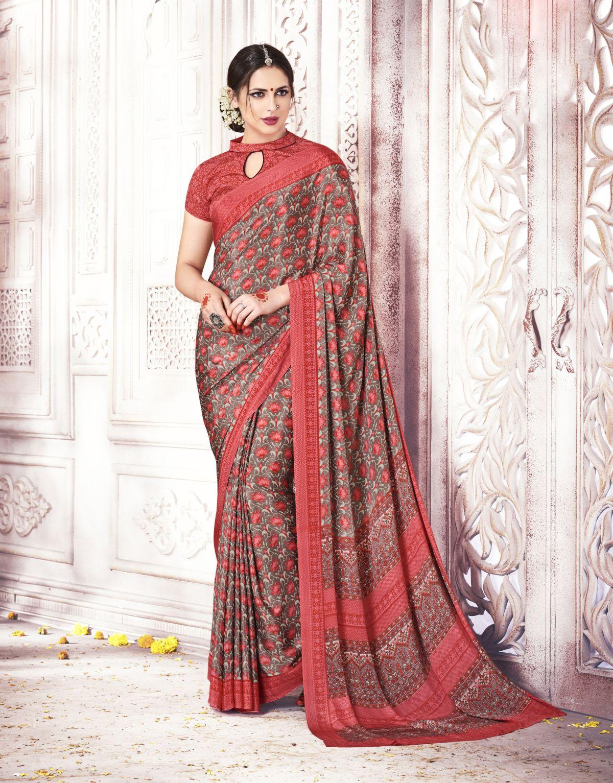Printed Silk Saree in Gray