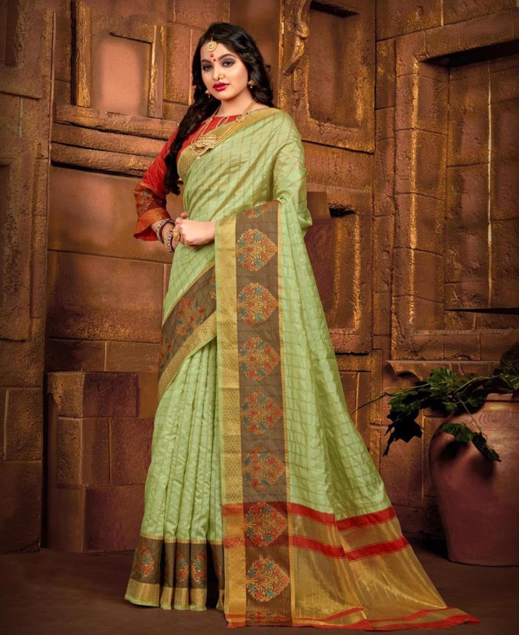 Silk Saree in Light Green