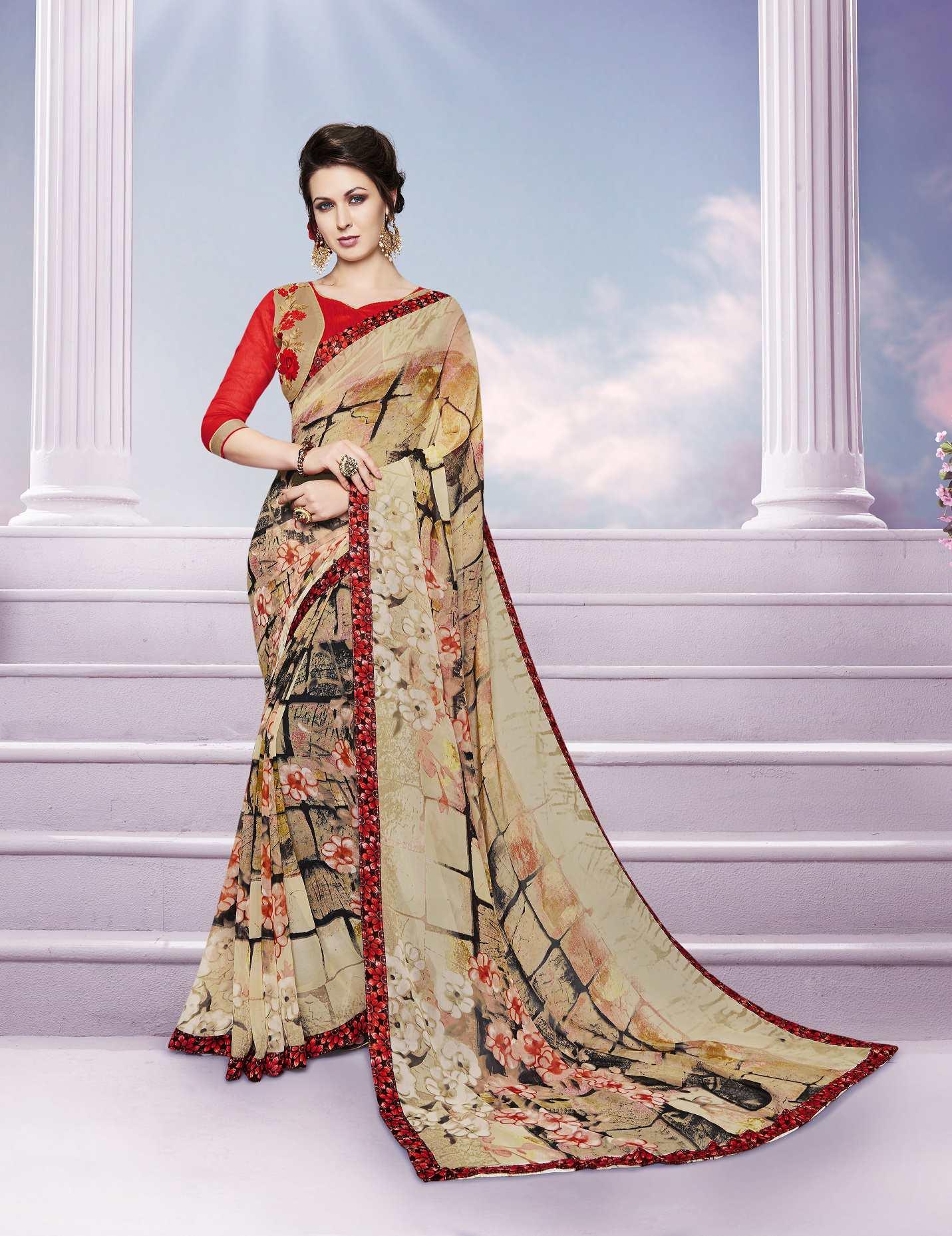 Printed Georgette Saree (sari) in Beige