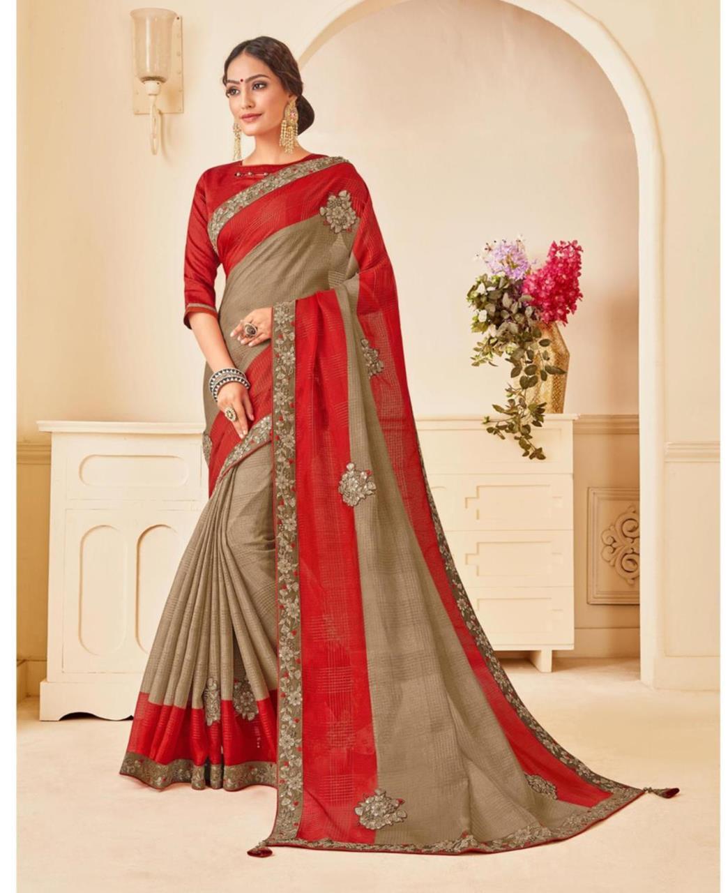 Embroidered Georgette Saree (Sari) in Gray