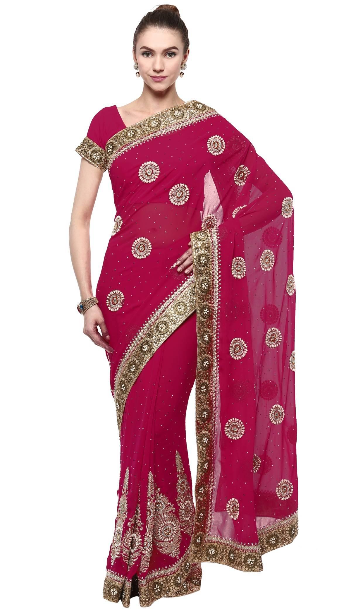 Embellishments Faux Georgette Saree (Sari) in Magenta