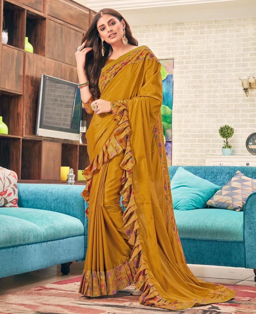 Printed Silk Saree (Sari) in Yellow