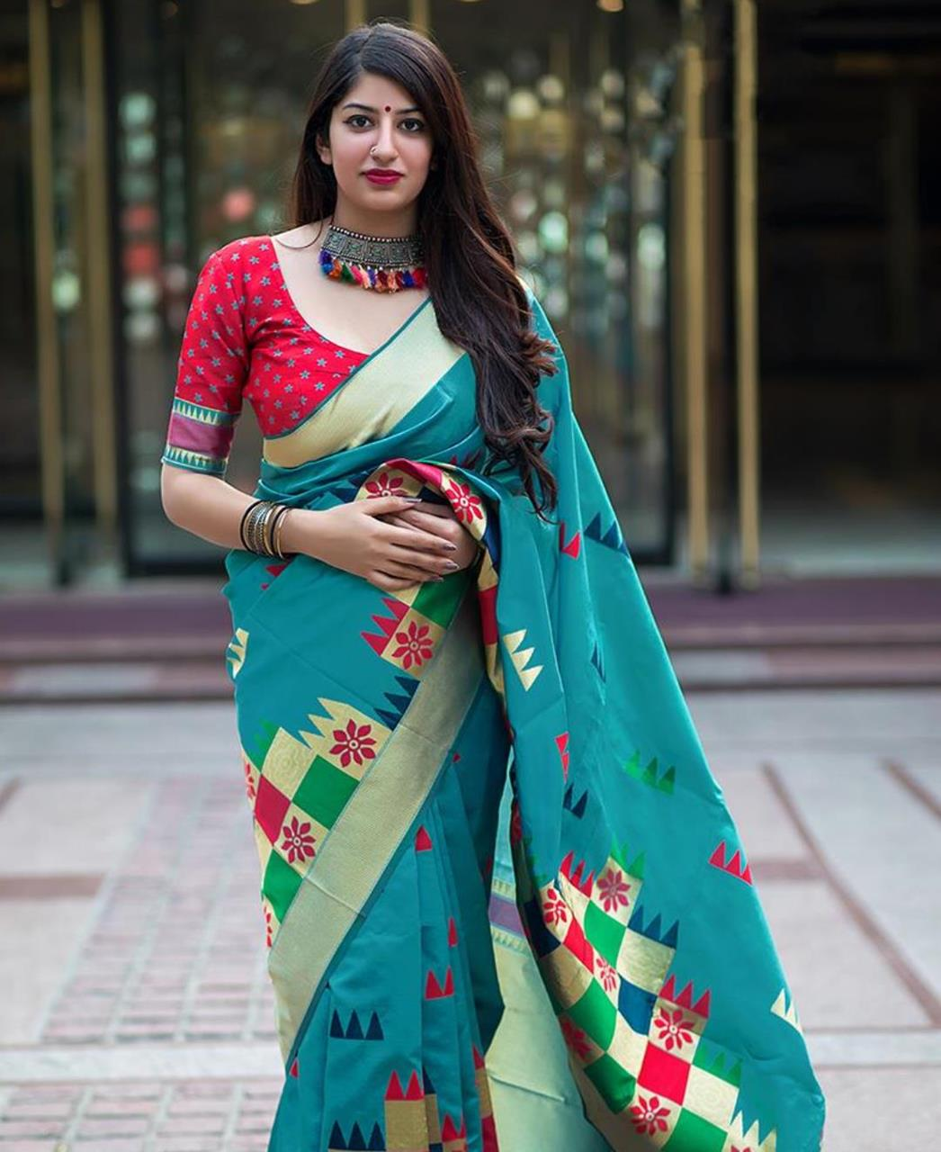 Woven Banarasi Silk  Saree (Sari) in SKYBLUE