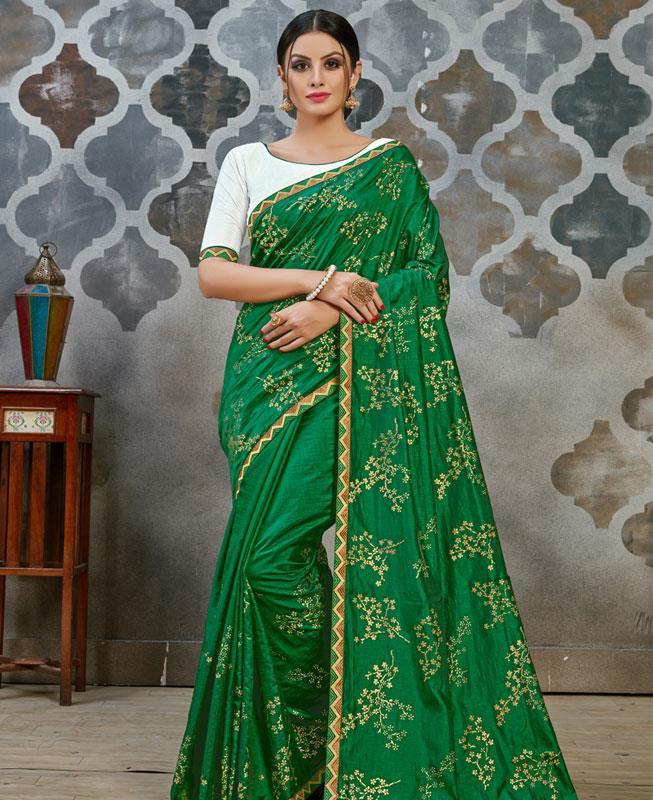 Lace Silk Saree(Sari) in Green